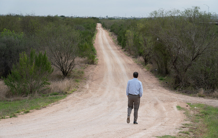 Jay Timmons walks along U.S. - Mexico Border
