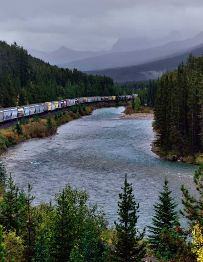 train winding through mountains
