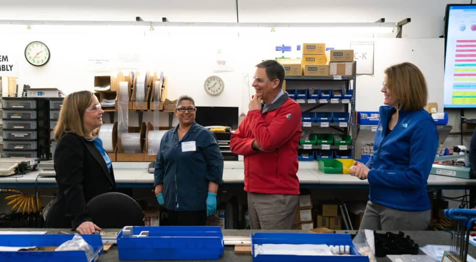 NAM President and CEO Jay Timmons and Manufacturing Institute Executive Director Carolyn Lee participate in a tour of Bishop-Wisecarver Corp. during a visit on Feb. 26, 2019, in Pittsburg, California. Photo by David Bohrer.