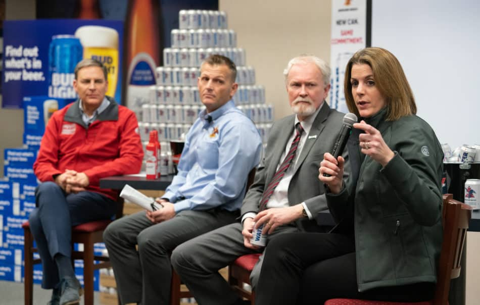 Timmons participates in a tour of the water canning operation on Feb. 19 at the Anheuser-Busch facility in Fort Collins, Colorado.