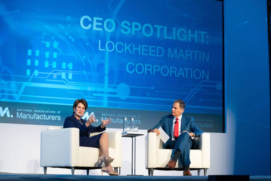 Marillyn Hewson, chairman and CEO of Lockheed Martin Corporation, with NAM President and CEO Jay Timmons at the NAM board meeting in September 2019 in Washington, D.C.