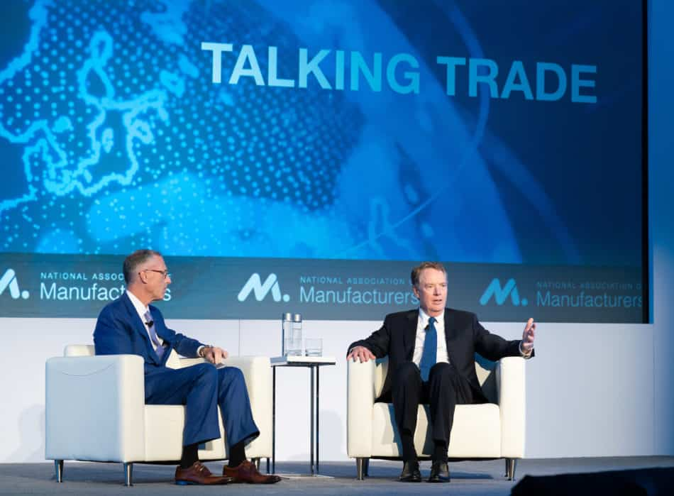 James Fitterling, NAM Board vice chair and chairman and CEO of Dow, Inc., joins U.S. Trade Representative Robert Lighthizer for a discussion on the USMCA and critical trade issues at the NAM board meeting in September 2019 in Washington, D.C.