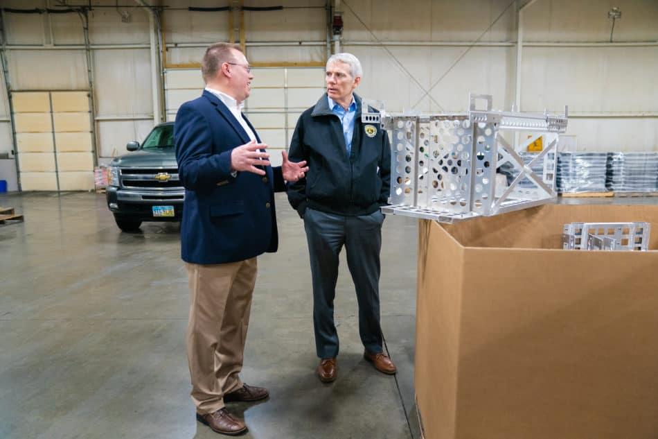 Sen. Rob Portman (R-OH) greets Steve Staub, president of Staub Manufacturing Solutions, on Feb. 20, 2019, at Staub Manufacturing Solutions in Dayton, Ohio, where he held a roundtable discussion with key industry and community leaders and toured the factory floor. The discussion was part of the NAM's 2019 State of Manufacturing Tour. Photo by Joshua Roberts.