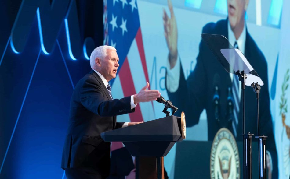 Vice President Mike Pence speaks at the spring NAM board meeting.