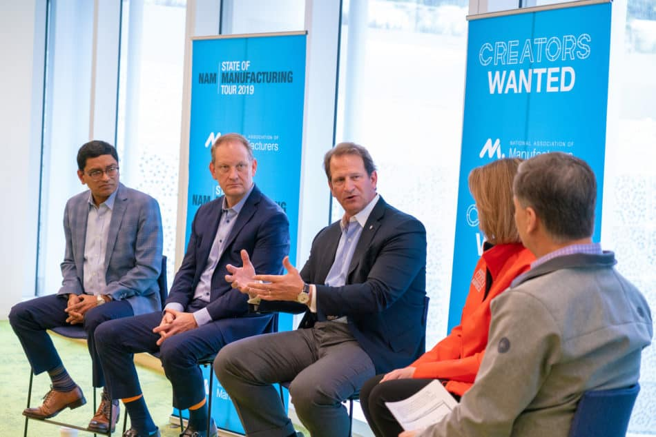 NAM President and CEO Jay Timmons and Manufacturing Institute Executive Director Carolyn Lee participate in a conversation on recruiting and retaining the next-generation workforce on Feb. 27, 2019, during a stop at Salesforce Tower in San Francisco. Joining them, from left, are Achyut Jajoo of Salesforce; Lance Hastings, CMTA president and CEO; and David Seaton, chairman and CEO of Fluor Corporation. Photo by David Bohrer.