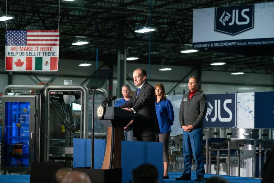 Then-U.S. Labor Secretary Alexander Acosta hails manufacturers' leadership and calls for USMCA passage.