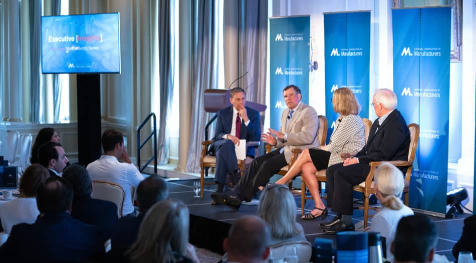 David Farr, chairman and CEO of Emerson; Mary Andringa, chairman of the board at Vermeer Corporation; and Karl Glassman, chairman and CEO of Leggett & Platt, Inc., lead the Executive Insights Series discussion with manufacturers in St. Louis, Missouri.