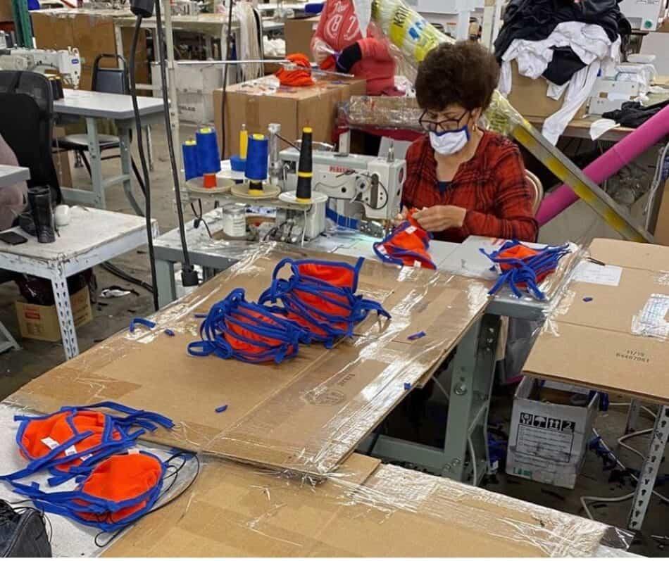 Image of manufacturer making masks