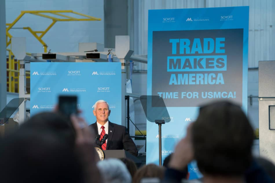 Vice President Mike Pence speaks about the importance of the USMCA for manufacturers in the United States.