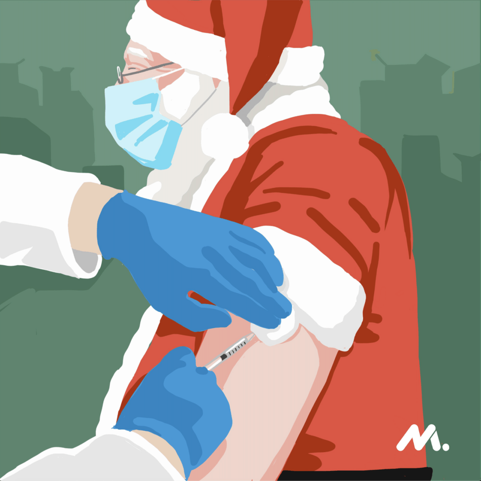 Santa gets his COVID-19 vaccine
